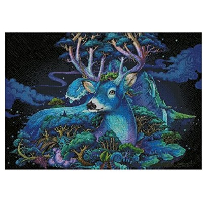Deer in moonlight counted cross stitch kits 14 ct,月光鹿、82x65cm 400x285 point クロスステッチ