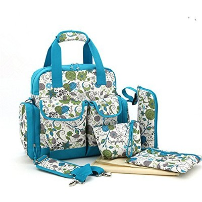 H.Tavel 5pc Multipurpose Diaper Tote Bags Satchel Mommy Backpack Baby Nappy Women's Handbag by H...