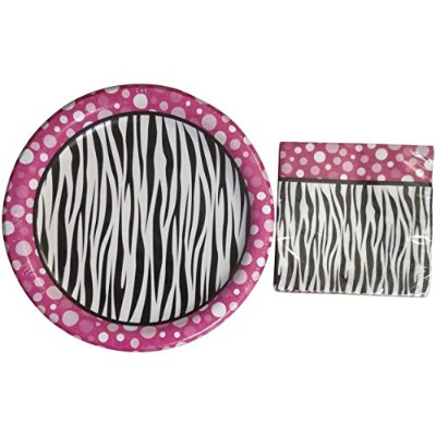Party! Pink Polka Dot Zebra Print Paper Plates & Napkin Set by Party!