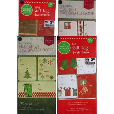 Foil and Glitterクリスマスギフトタグswatchbooksのセット4