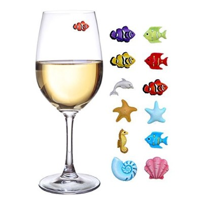 Summer Beach Wine Charms - Magnetic Glass Markers for Stemless Glasses, Martinis and More - Set of...