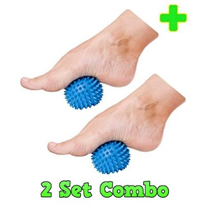 HealthyNees 2 Ball Combo Set Plantar Fasciitis Therapy Foot Arch & Back Pain Spiky Massaging Hard...
