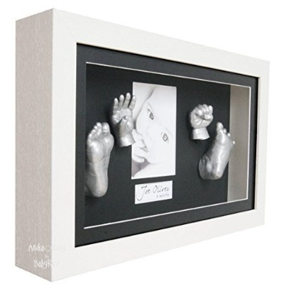 BabyRice 3D Baby Casting Kit with Deluxe Deep Box White Wooden Frame - Silver Casts by BabyRice