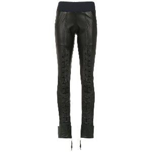 Andrea Bogosian lace up detail leather trousers - ブラック