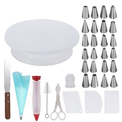 Cake Decorating Supplies,Thsinde 34 Cake Decorating Supplies with Cake Turntable,1 Icing Spatula,24...