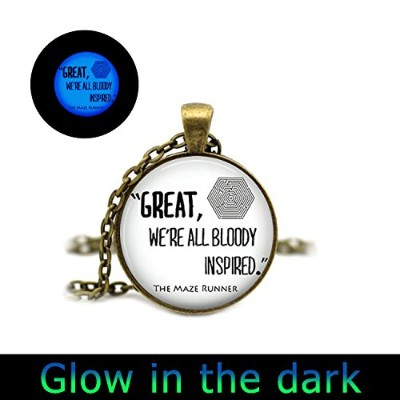 glowlala ®グローin theダークネックレスThe Maze Runner Quote Glowingペンダントネックレス