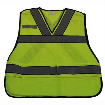 Petra Roc LVM2-VNPSV-Plus ANSI V-Neck Lime Mesh Public Safety Vest X on Back - Plus 2X & 5X