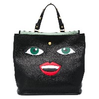 Giancarlo Petriglia face applique tote bag - グリーン