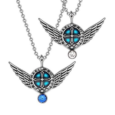 Angel Wings Archangel Raphael LoveカップルまたはBest Friends Set Charmsホワイトロイヤルブルーペンダントネックレス