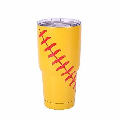 (Softball Yellow) - E-FirstFeeling Tumbler 890ml Stainless Steel Vacuum Insulated Cup Travel Mug...