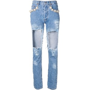 Forte Dei Marmi Couture pearl distressed ripped jeans - ブルー