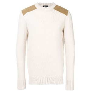 A.P.C. contrast-patch sweater - ヌード&ナチュラル