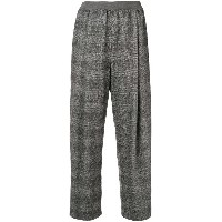 Agnona check cropped trousers - グレー
