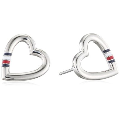 [女性向けイヤリング]Tommy Hilfiger Women's Stainless-Steel Open Heart Stud Earrings[平行輸入品]