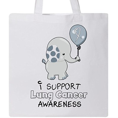 Inktastic–I Support肺がんawareness- Elephant withバルーントートバッグ One Size