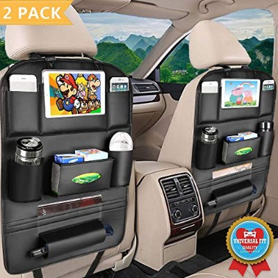 jugtech Car Back Seat Organizer withタブレットホルダー,耐久性品質Seat Backオーガナイザー、8ポケットストレージ,車PUレザーBackseat Organizer for Kids 23.6 x 16.9inches ブラック