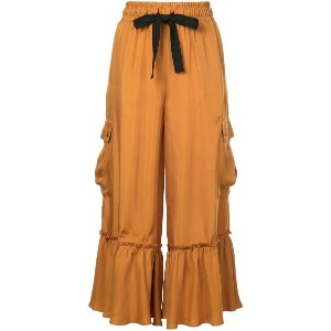 Cinq A Sept frilled flared trousers - イエロー