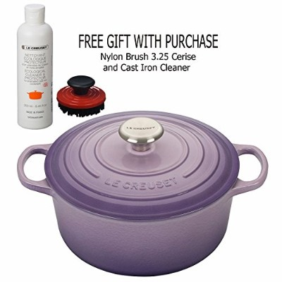 Le creüset 4½ -quartラウンドDutch Oven, Provence withナイロンブラシ3.25Cerise and Cast Iron Cleaner、ギフトwith...