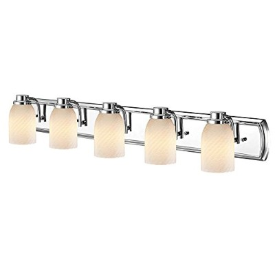 5-light Bath Vanityライトin Chrome withホワイトアートガラス