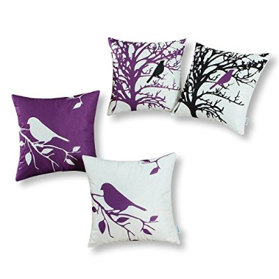 (46cm X 46cm , Purple) - Set of 4, CaliTime Soft Canvas Throw Pillow Covers Cases for Couch Sofa...