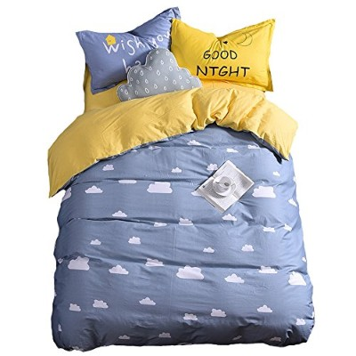 (Twin Size(4Pc), Grey-Fitted Sheet) - Mumgo HomeTextile Bedding Set for Adult Kids Good Night and...