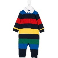 Ralph Lauren Kids colour block striped romper - ブルー