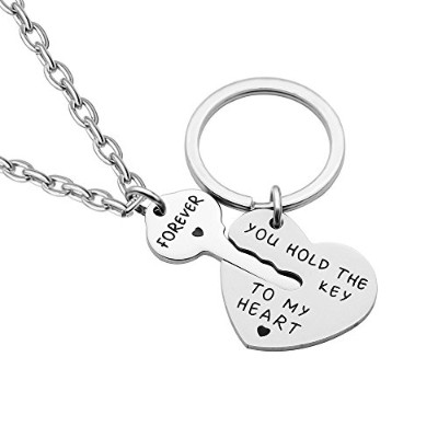 caromayペンダントネックレスYou Hold The Key to Myハートチャームキーリングfor Valentine Day