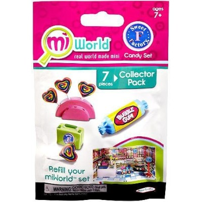 MiWorld Collector Pack Sweet Factory Candy Set 7 Piece Set [1 Candy Stand, 4 Lollipops, 1 Lunch Box...
