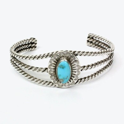 【中古】【送料無料】(KA) NAVAJO INDIAN JEWELRY ナバホ インディアンジュエリー 20'S MADE IN USA SILVER BANGLE w/TURQUOIS BN6...