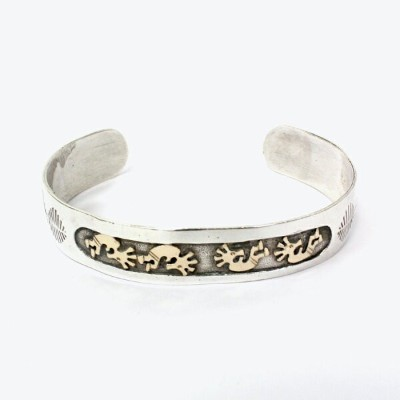 【中古】【送料無料】(KA) NAVAJO INDIAN JEWELRY ナバホ インディアンジュエリー 20'S MADE IN USA KOKOPELLI SILVER BANGLE BN6.0...