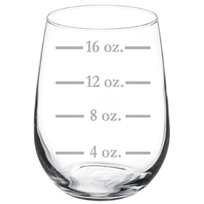 (500ml Stemless) - Wine Glass Goblet Measuring Cup Ounces (500ml Stemless)