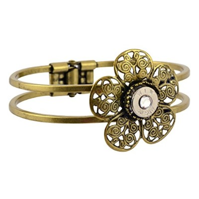 40Caliber Bullet Flower Hinge Cuff、ニッケルCasing Bracelet with Filigree in Brass Finish withクリアクリスタル