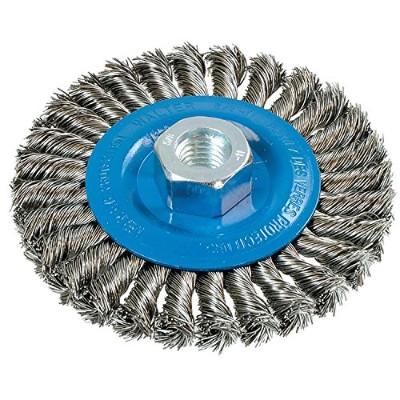 Walter 13L464 Knot Twisted Wire Wheel Brush, Threaded Hole, Stainless Steel 304, 4-1/2 Diameter, 0...