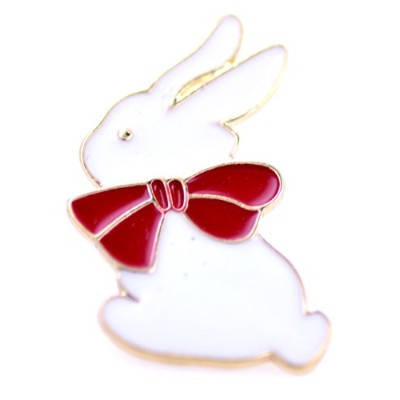 Lizzyoftheflowers–Super CuteホワイトBunny Rabbit with a bow tieブローチ/ピン