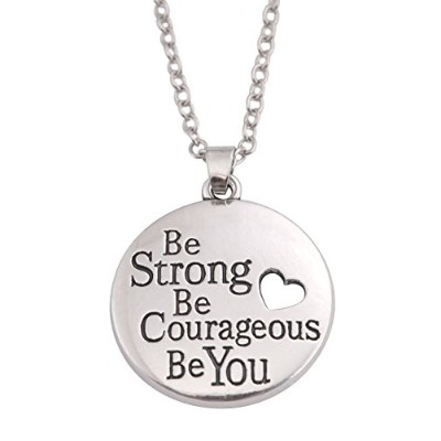TeamerメッセージBe Strong Be Courageous Be Youラウンドペンダントネックレス中空ハートLoveジュエリー