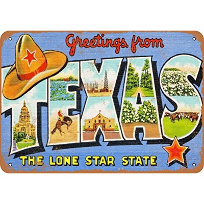 """7"""" x 10""""メタルサイン–Greetings from Texas Lone Star State–Vintage Look Reproduction"""