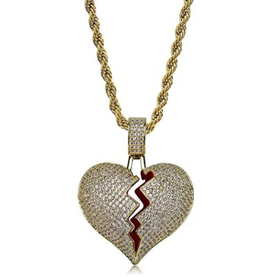 JINAO 18Kゴールドメッキ Hip Hop Necklace ハートネックレス ♡ Heart Necklace Heartbreak ハートブレーク ネックレス 失恋のデザイン メンズ...