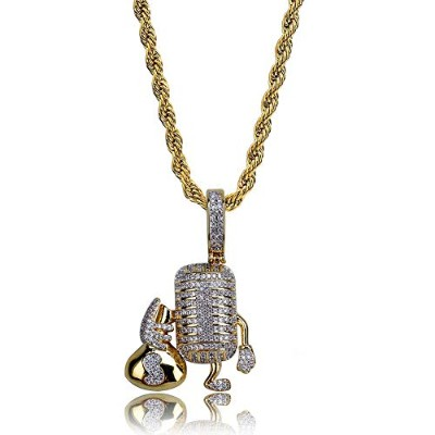 JINAO Hip Hop Jewelry マイク マイクロホン ネックレス Mike Microphone Necklace 生き生きしたマイク 財布付き キュービックジルコニア...