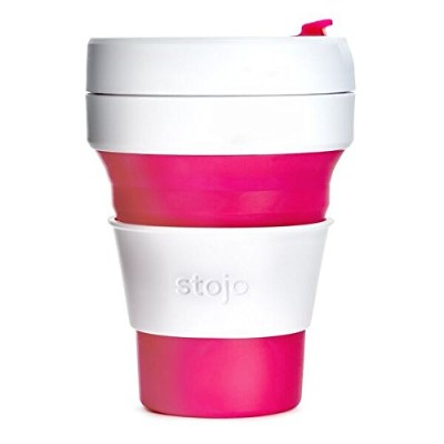 (Pink) - Stojo Collapsable Reusable Silicone Coffee Cup, 350ml, Pink