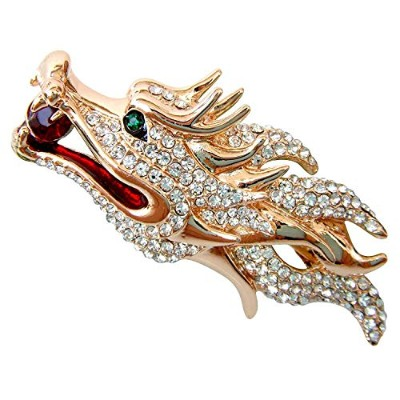 Navachi 18k Gold Plated White Crystal Dragon Head Az7968b Brooch Pin