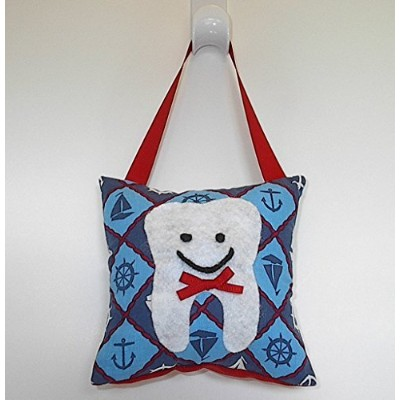 Tooth Fairy Pillow Keepsake for a Boy Red White and Blue with Sailboats Nautical Boat Design Theme