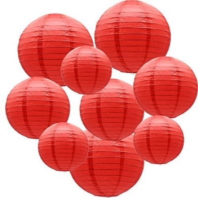 (Red) - ADLKGG Round Hanging Paper Lanterns Decorations for Party Wedding Birthday Baby Showers...