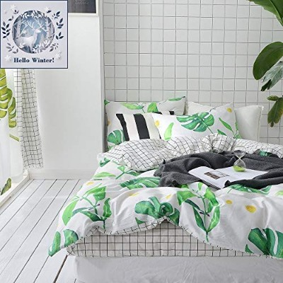(Full/Queen (1 duvet cover + 2 Pillow Shams), Palm Tree Leaves) - BuLuTu Palm Tree Leaves Print...