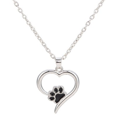 Lovely Dog Pawペンダントネックレス、かわいい動物ハートネックレスfor Girls犬Person