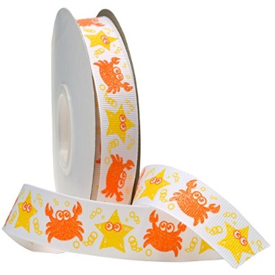 Morex Ribbon Marine Life Grosgrain Fabric Ribbon with 7/8-Inch by 25-Yard Spool, Yellow by Morex...
