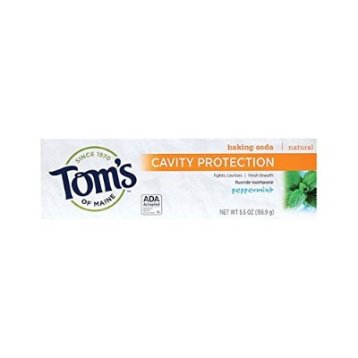 Tom's of Maine Cavity Protection Fluoride Toothpaste Peppermint Baking Soda 160 ml (並行輸入品)
