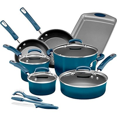 Rachael Ray 14 Piece Hard Enamel Nonstick Cookware Set, Marine Blue by Rachael Ray