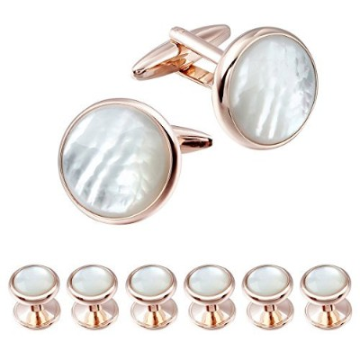 (Rose Gold 2+6) - HAWSON Exquisite Mother of Pearl Cuff Links Shirt Studs Set Rose Gold and Gold