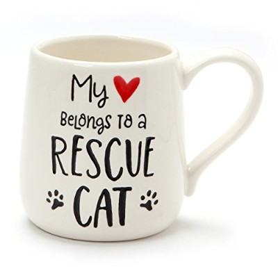 Enesco 6001250 Our Name Is Mud Rescue Cat Stoneware Mug、16オンス、ホワイト