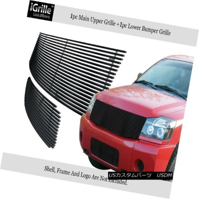 USグリル Fits 2004-2007 Nissan Titan/Armada Black Stainless Steel Billet Grille Combo フィット2004...